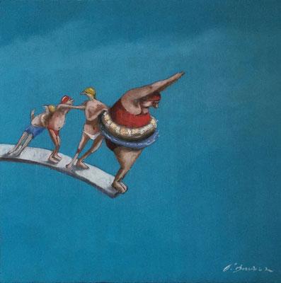 Thomas Bossard, artiste peintre, Le plongeoir, huile sur toile, 80 x 80 cm