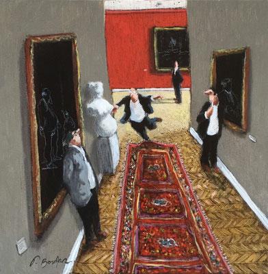 Thomas Bossard, artiste peintre, Au musée , huile sur toile, 50 x 50 cm