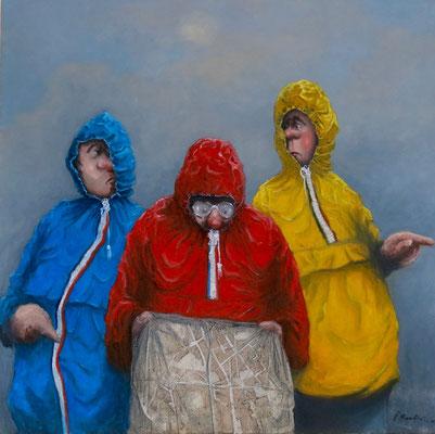 Thomas Bossard, artiste peintre, Les K-way, huile sur toile, 100 x 100 cm