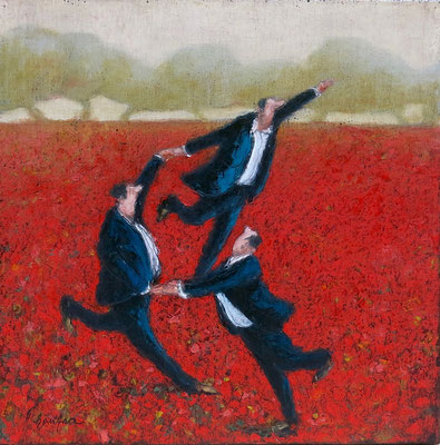 Thomas Bossard, artiste peintre, La farandole, huile sur toile, 50 x 50 cm