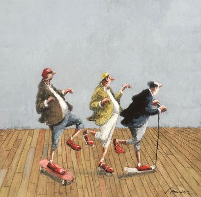Thomas Bossard, artiste peintre, Skate trotte patin, huile sur toile, 80 x 80 cm