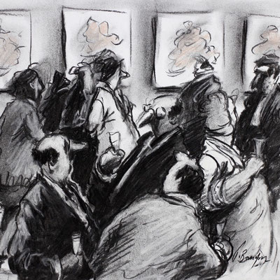 Thomas Bossard, Artiste peintre, Vernissage, 20 x 20 cm, fusain, pierre noire et pastel