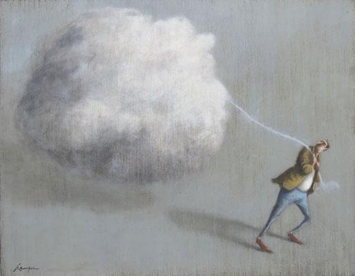 Thomas Bossard, artiste peintre, Fardeau, huile sur toile, 114 x 146 cm