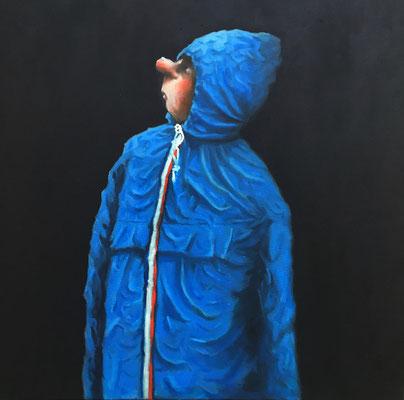 Thomas Bossard, artiste peintre, Le K-way, huile sur toile, 80 x 80 cm