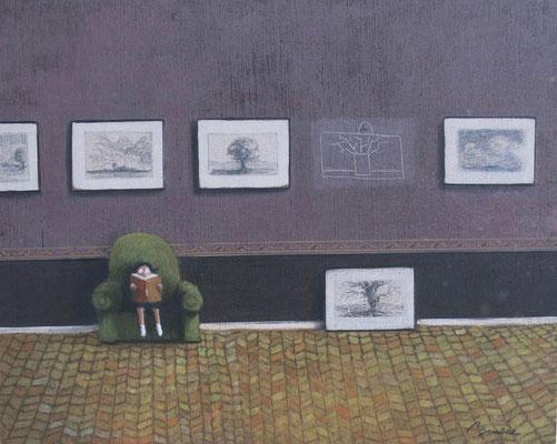 Thomas Bossard, artiste peintre, La liseuse n°2, huile sur toile, 92 x 73 cm