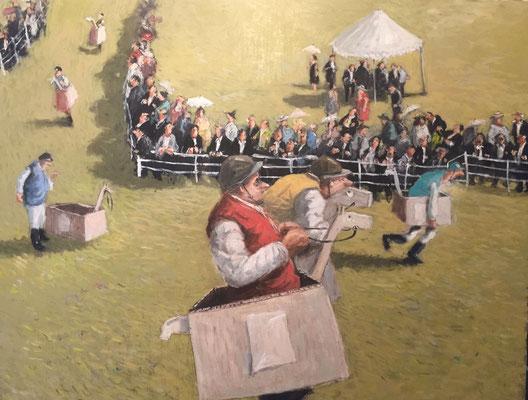 Thomas Bossard, artiste peintre, La Coursée chevaux, huile sur toile, 92 x 73 cm