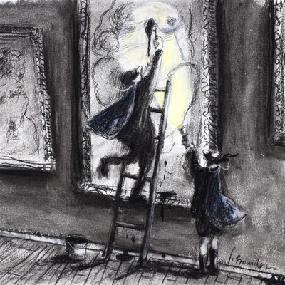 Thomas Bossard, Artiste peintre, Vengeur masqué, 20 x 20 cm, fusain, pierre noire et pastel