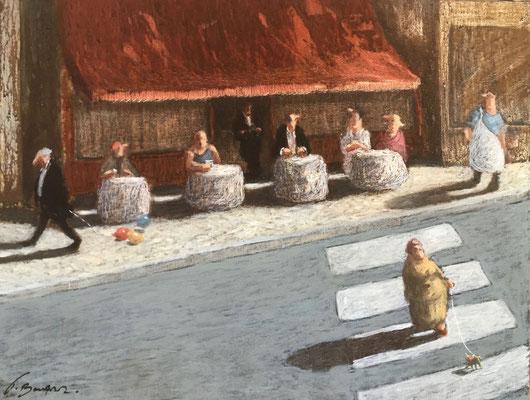 Thomas Bossard, artiste peintre, Le bistrot, huile sur toile, 65 x 50 cm