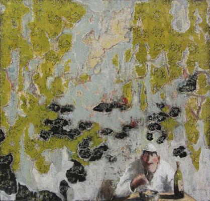 Thomas Bossard, artiste peintre, Pause déj., huile sur toile, 100 x 100 cm