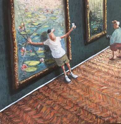 Thomas Bossard, artiste peintre, Le selfie, huile sur toile, 50 x 50 cm