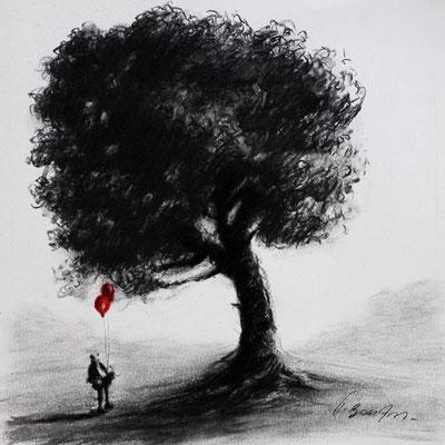 Thomas Bossard, Auprès de mon arbre, Au musée, 20 x 20 cm, fusain, pierre noire et pastel