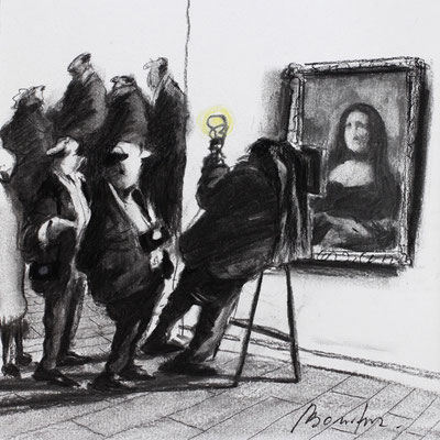 Thomas Bossard, Artiste peintre, Mona Lisa, 20 x 20 cm, fusain, pierre noire et pastel
