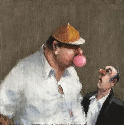 Thomas Bossard, artiste peintre, Bubble gum, huile sur toile, 50 x 50 cm