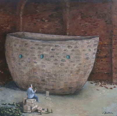 Thomas Bossard, artiste peintre, Le bateau ivre, huile sur toile, 100 x 100 cm