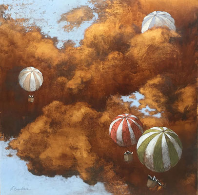 Thomas Bossard, artiste peintre, Les montgolfière, huile sur toile, 100 x 100 cm