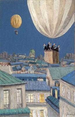 Thomas Bossard, artiste peintre, Au dessus des toits, huile sur toile