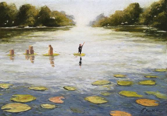 Thomas Bossard, artiste peintre, Le grand voyage, huile sur toile