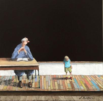 Thomas Bossard, artiste peintre, Le petit écolier, huile sur toile, 80 x 80 cm