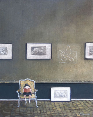 Thomas Bossard, artiste peintre, La liseuse, huile sur toile, 92 x 73 cm