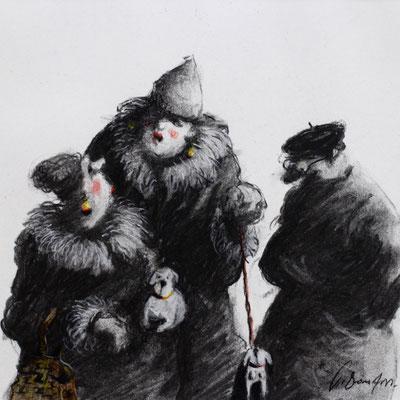 Thomas Bossard, Artiste peintre, Les commères, 20 x 20 cm, fusain, pierre noire et pastel