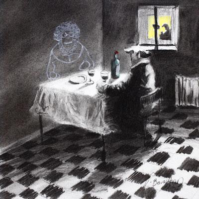 Thomas Bossard, Artiste peintre, Solitude, 20 x 20 cm, fusain, pierre noire et pastel