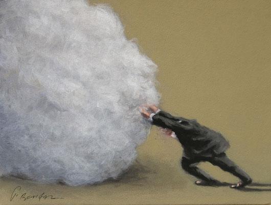 Thomas Bossard, artiste peintre, L'homme au nuage n°2, huile sur toile, 27 x 35 cm