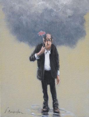 Thomas Bossard, artiste peintre, L'homme au nuage n°1, huile sur toile, 27 x 35 cm