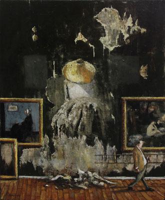Thomas Bossard, artiste peintre, Le chapeau chinois, huile sur toile, 92 x 73 cm