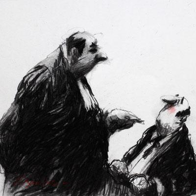 Thomas Bossard, Artiste peintre, L'avocat, 20 x 20 cm, fusain, pierre noire et pastel
