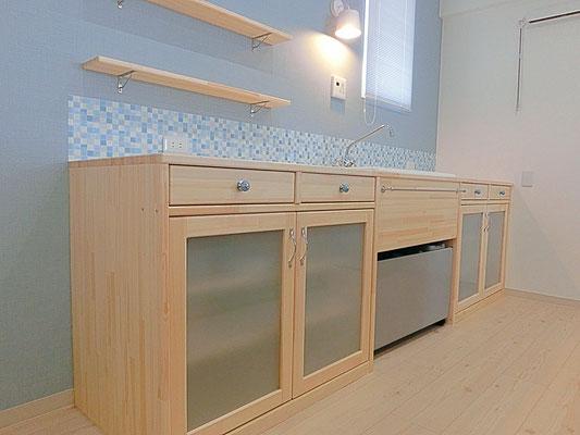 キッチンコーディネート 水色キッチン
