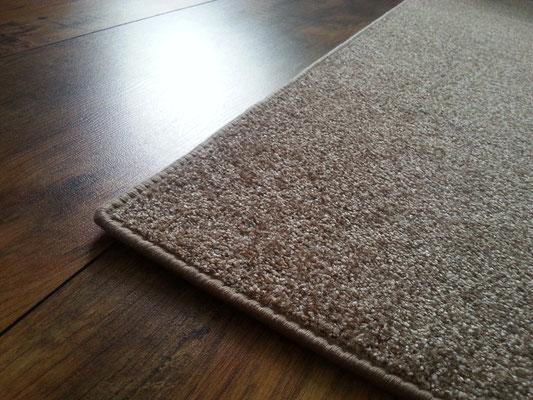 Teppich, Brücke, Läufer in beige / braun 100% Polyamid warmbeige Bandeinfassung ca. 168 cm x 94 cm
