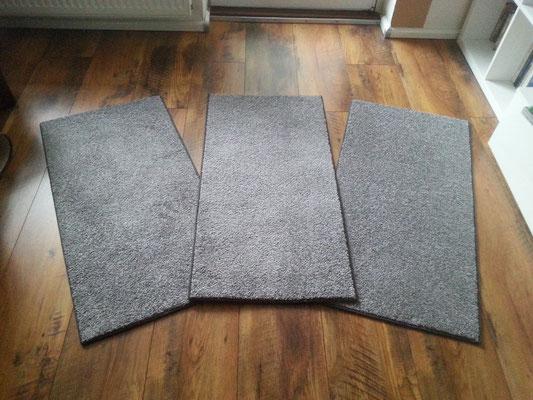 Teppich , Brücke , Läufer in grau Kräusel-Velours Läufer mit Flex-bag-Rücken mit taubengrauem Einfassband ca. 100cm x 50cm