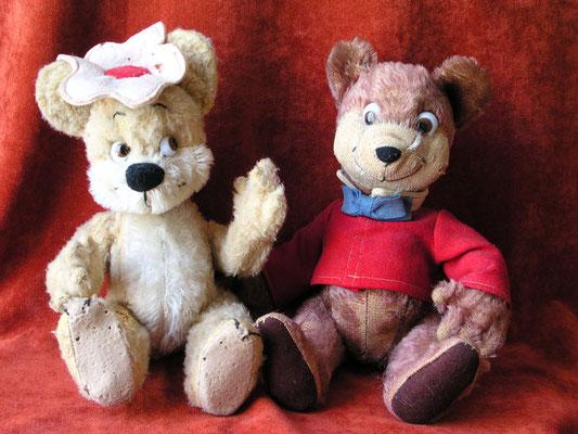 """Lulubelle avec son """"chapeau-fleur"""" et Bongo en peluche de mohair et costume en feutre"""