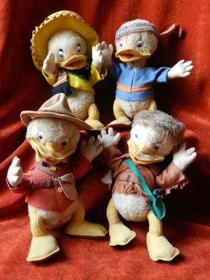 Quatre versions des Castors Junior, les neveux de Donald