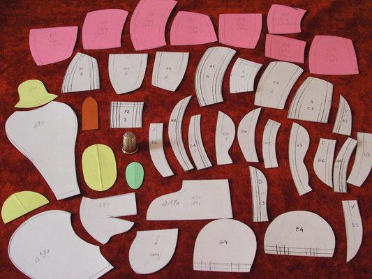 Patrons en cartonnage des multiples pièces à reproduire sur les Mohair et le tissu