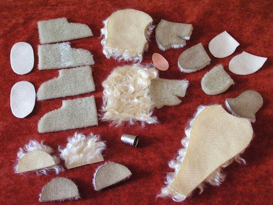 Pièces de tissus et de Mohair prêtes à être cousues et assemblées