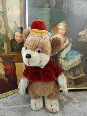Une autre version de Bongo en peluche de laine et costume en velours