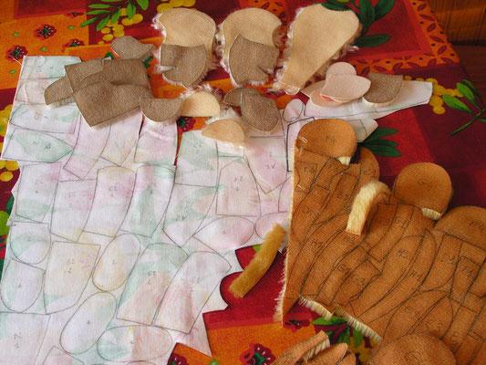 Pièces de tissus et de de Mohair prêtes à être découpées