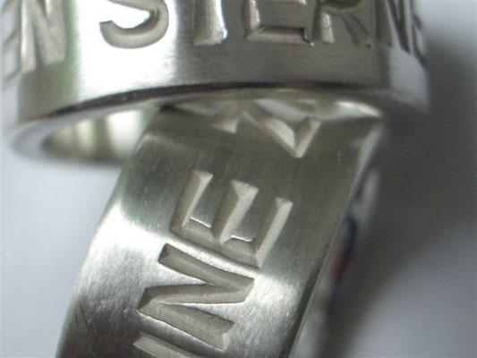Silberring Schrift