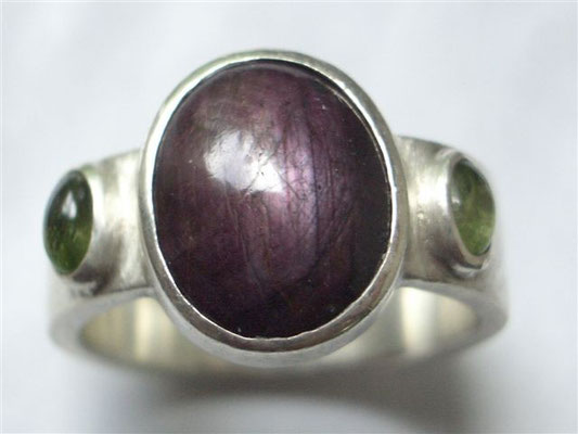 Silberring Rubin, Peridot