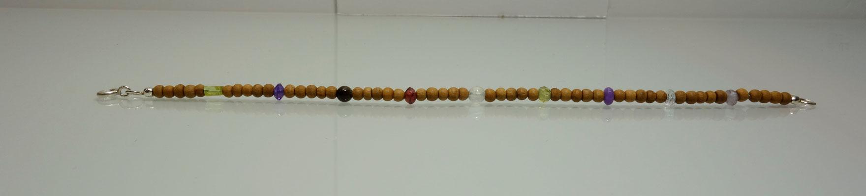 Sandelholz, verschiedene Edelsteine, Silberarmband