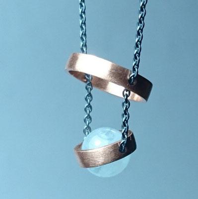 Aquamarin, Kupfer, Silber geschwärzt