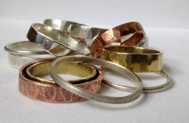 Silber, Kupfer, Messingringe