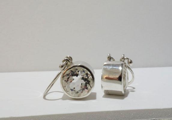 Bergkristall facettiert, Silberohrhänger