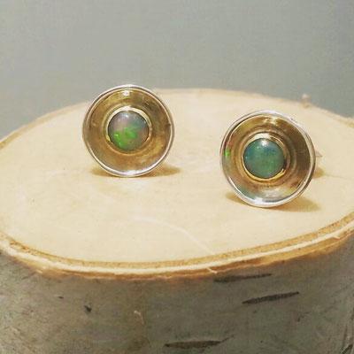 Opal, Silberohrstecker, Gold