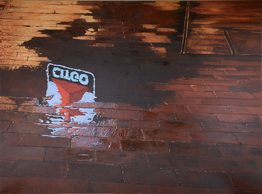 CITGO Sign reflection on brick in Kenmore Square Boston