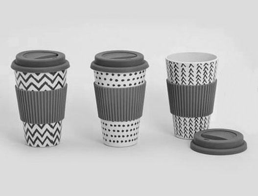 Cafe to go to Bamboo: Keffeebecher aus Bambusfaserholz, mit Silikonverschluß