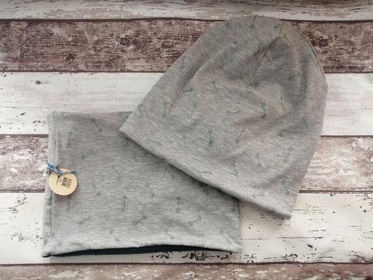Loop Schal Beanie Mütze Set Pfeile Glitzer handgemacht Handarbeit handmade SaSch Selbstgefertigtes aus Schwaben