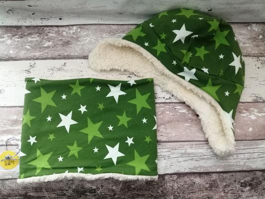 Loop Schal Wintermütze Mütze Sterne handgemacht Handarbeit handmade SaSch Selbstgefertigtes aus Schwaben