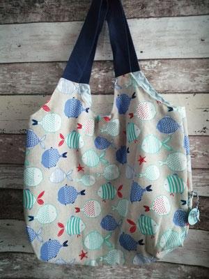 Shopper Tasche Einkaufstasche Fisch Fische handgemacht Handarbeit handmade SaSch Selbstgefertigtes aus Schwaben